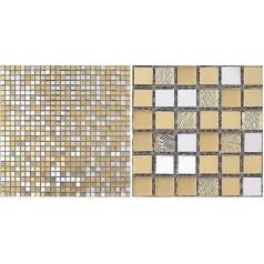 Glass Mosaic Tiles Blacksplash Mirrored Crystal Gold Tiles Bathroom Wall Tile Crack Mirror Stickers Z183