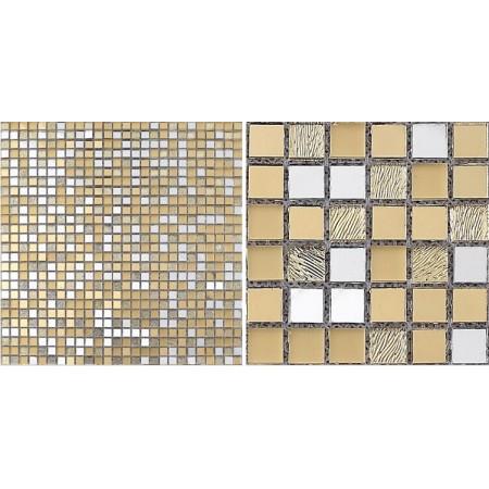 Glass Mosaic Tiles Blacksplash Mirrored Crystal Gold Tiles