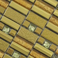 Glass Mosaic Tile Crystal Gold Brick Bathroom Wall Stickers Kitchen Backsplash Plated Glass GJAQ01