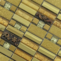 Glass Mosaic Tile Gold Crystal Backsplashes Bathroom Wall Strip Stickers Kitchen Backsplash Plated Glass GSAQ01