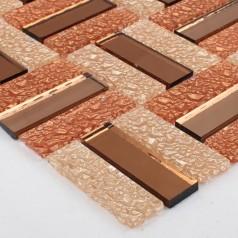 Glass Mosaic Tiles Crystal Mirror Rectangle Tile Bathroom Wall Strip Stickers Kitchen Backsplash HC-008