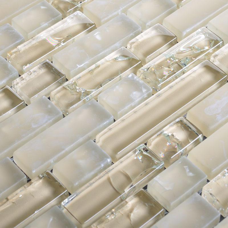 Frosted Glass Backsplash For Kitchen Walls Beige Ice Crack Mosaic Tile