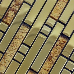 Glass Mosaic Tiles Crystal Interlocking Tile Bathroom Wall Strip Stickers Kitchen backsplash Plated SA02