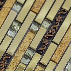 Glass Mosaic Tiles Crystal Interlocking Tile Bathroom Wall Strip Stickers Kitchen backsplash Plated SAQ01