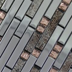 Glass Mosaic Tiles Crystal Interlocking Tile Bathroom Wall Strip Stickers Kitchen Backsplash Silver Plated Glass SBT01