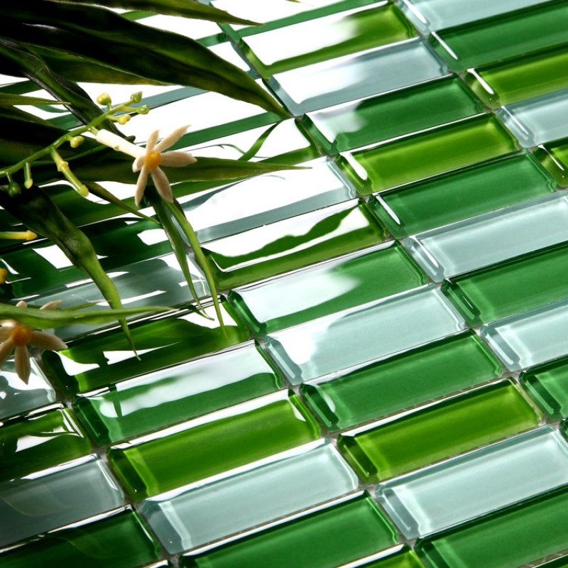 Kitchen Backsplash Green Glass Tile glass tile brick strip kitchen backsplash tiles green glass mosaic