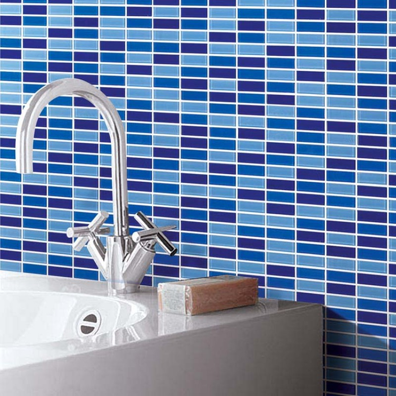 Crystal Glass Tile Brick Strip Kitchen Backsplash Tiles Bathroom Wall  Sticker Blue Glass Mosaic Tiles 103