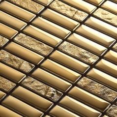 Crystal Glass Tile Brick Strip Kitchen Backsplash Tiles Gold Glass Plated Craft Bathroom Wall Stickers Mosaic Tiles 631