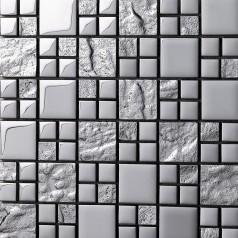 Mosaic Tiles Grey Crystal Glass Backsplash Kitchen Countertop Bathroom Plated Glass Wall Floor Tile 652