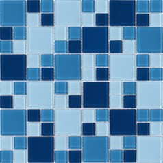 Mosaic Tile Crystal Glass Backsplash Kitchen Countertop Blue Bathroom painted Wall Floor Tile CL229