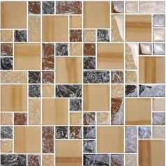 Crackle Crystal Glass Backsplash Kitchen Brown Mosaic Tile Ice Crack Bathroom Wall Floor Tiles MA13