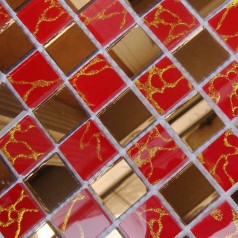 Mosaic Tile Crystal Glass Backsplash Mirrored Glass Design Bathroom Wall Floor Gold Mirror Tiles MOSA13