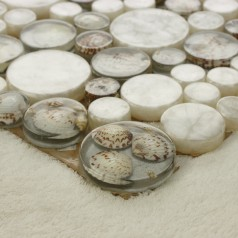 White Mosaic Tile Resin Glass Conch Tile Backsplash Penny Round Designs Bathroom Tiles for Wall Backsplashes 3003