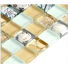 Mosaic Tile Crystal Glass Shell Tile Backsplash Crackle Plated Bathroom Tiles for Wall Backsplash