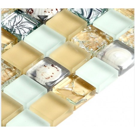 Yellow and White Glass Mosaic Resin Shell Crackle Crystal Tile Backsplash Clear Silver Wall Tiles