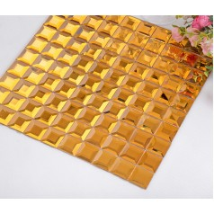 gold mirror tile pyramid designs crystal glass mosaic tiles kitchen backsplash bathroom mirrored wall tile KLGT921