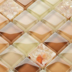 Brown Glass Mosaic Tile Backsplash Crystal Glass Conch Patterns Kitchen Backsplash Mosaics YF-MTLP21