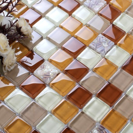 Glass Conch Tile Backsplash Bathroom Wall Tiles Orange Crystal Glass Kitchen Mosaic Z28