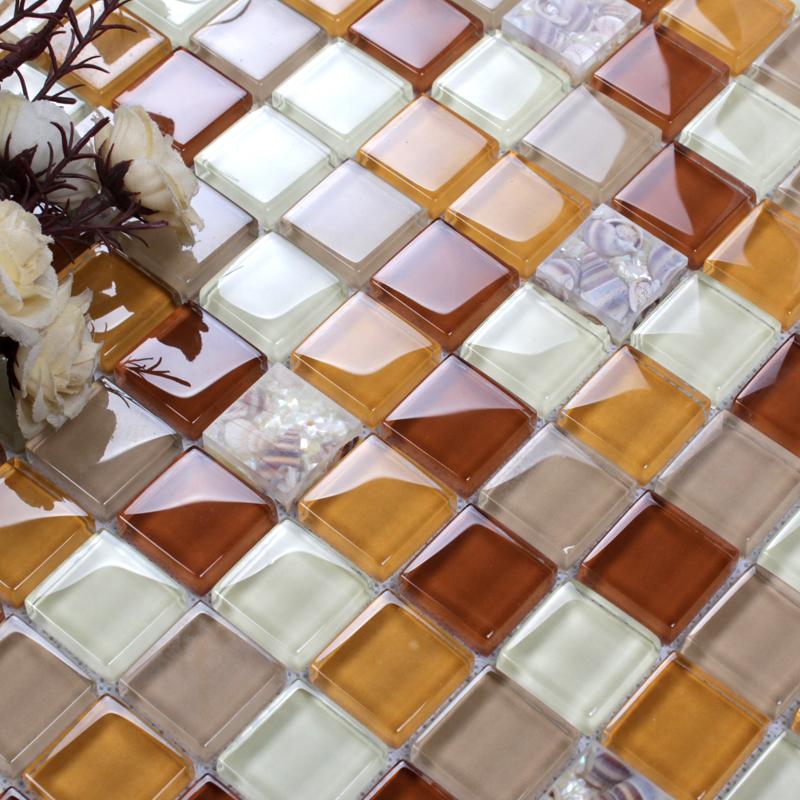 Orange Kitchen Backsplash Tile: Glass Conch Tile Backsplash Bathroom Wall Tiles Orange