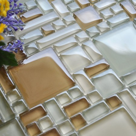 Mosaic Tile Crystal Glass Backsplash Kitchen Countertop Design Shower Bathroom Wall Floor Tiles