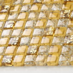 Crystal Glass Tile Backsplash Border Bathroom Gold Glass Ice Cracked Mosaic Design Liner Wall Tiles Sheets