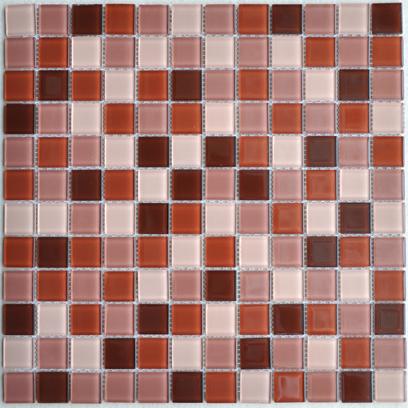 Crystal glass mosaic tile brown kitchen backsplash designs Mosaic kitchen wall tiles ideas
