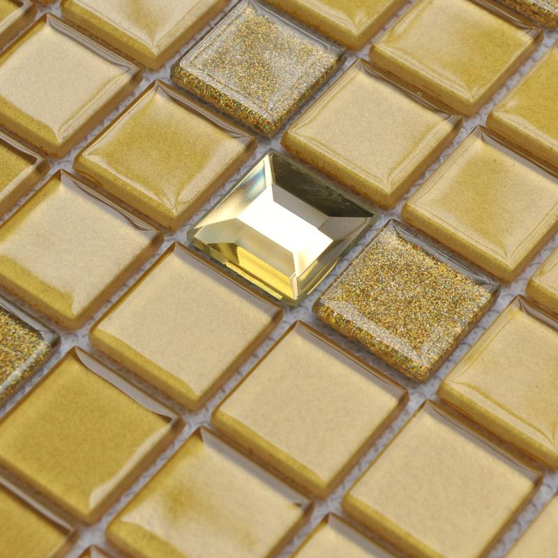 Crystal glass mosaic tiles washroom backsplash prymid gold for Washroom tiles design