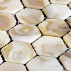 Mother of Pearl Shell Tile Backsplash Hexagon Fresh Water Seashell Mosaic Bathroom Sticker ST064