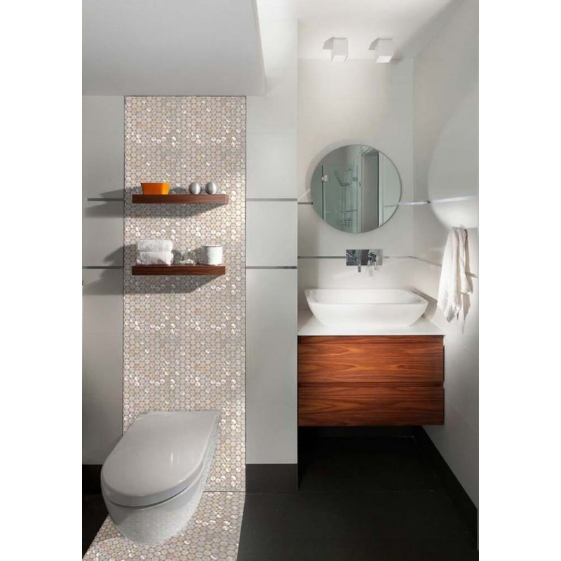 ... Mother Of Pearl Tiles Bathroom Wall Mirror Tile Penny Round Shell Tile  Natural White Seashell Mosaic