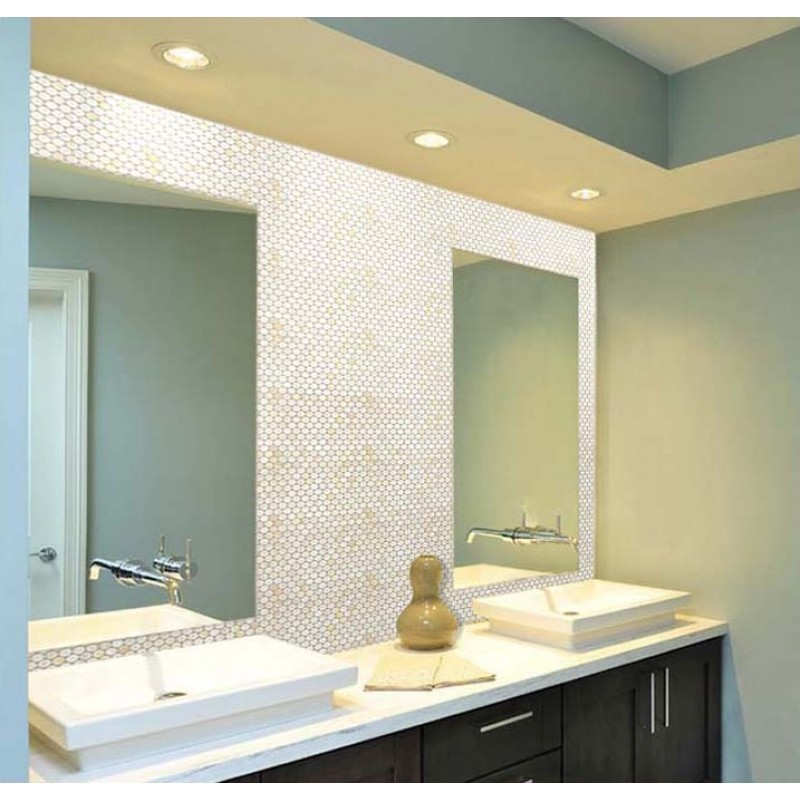 Fresh Water Mother Of Pearl Tile Bathroom Mirror Wall Backsplash Penny Round S Mosaic