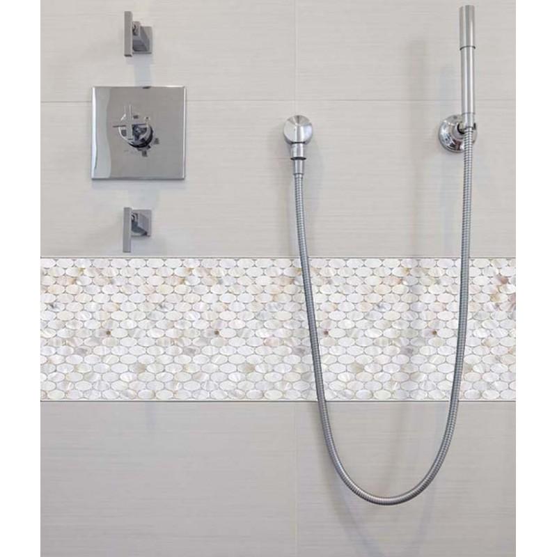 Attirant ... Mother Of Pearl Tile Natural Ellipse White Shell Mosaic Tile Mirror  Backsplash Shower Liner Wall Art
