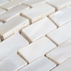 Natural White Shell Tile Backsplash Interior Wall Subway Mother of Pearl Mosaic with Porcelain Base