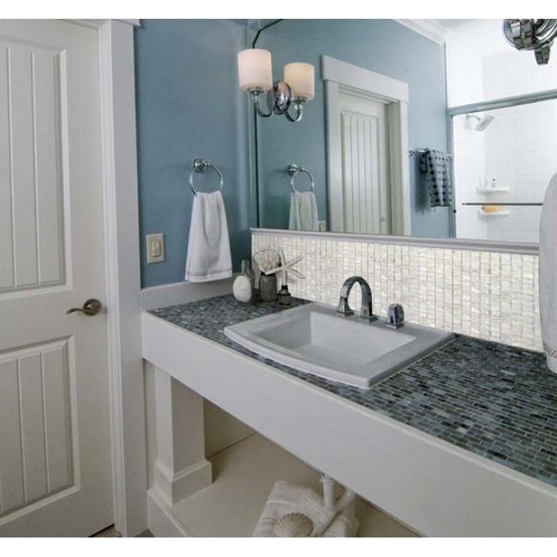 Marvelous ... White Mother Of Pearl Tile Square Shell Mosaic Shower Wall Sticker Bathroom  Mirror Wall Backsplash