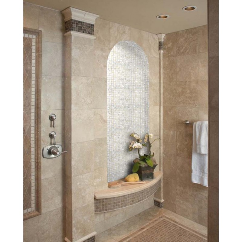 ... White Mother Of Pearl Tile Square Shell Mosaic Shower Wall Sticker Bathroom  Mirror Wall Backsplash ...