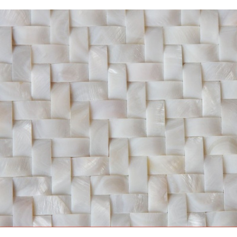 White Mother Of Pearl Arched Tile Backsplash Herringbone Mosaic Pattern Nature Shell Material AMS010