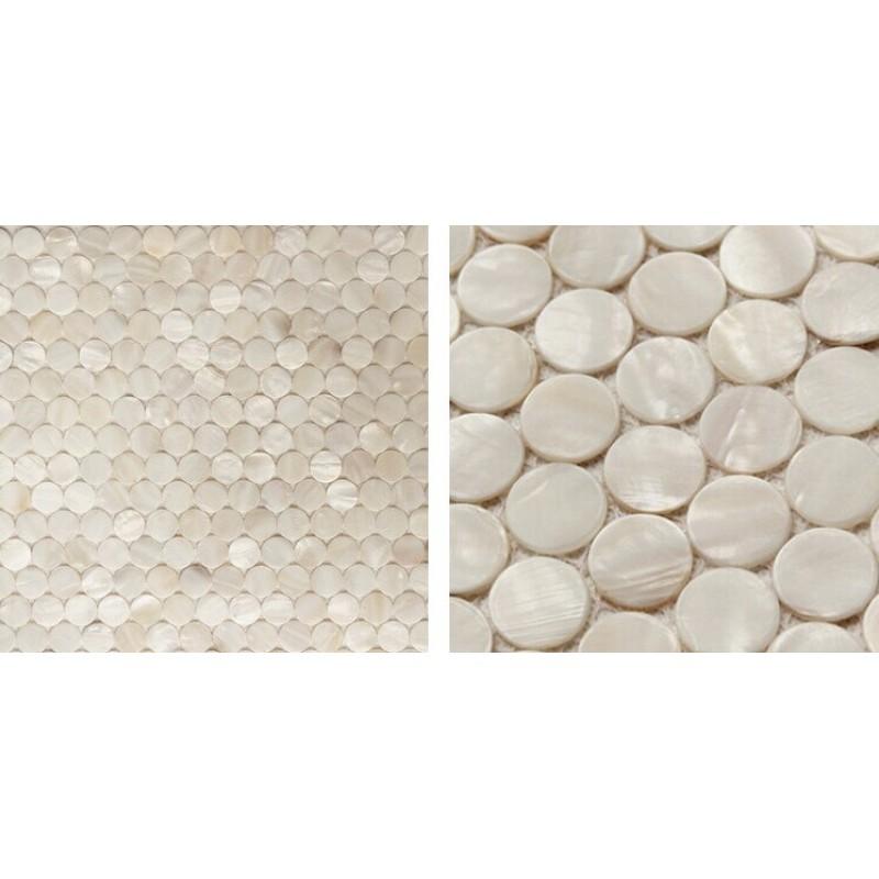 Shell Mosaic Tiles Cheaper Mother of Pearl Tile Backsplash Round Tiles