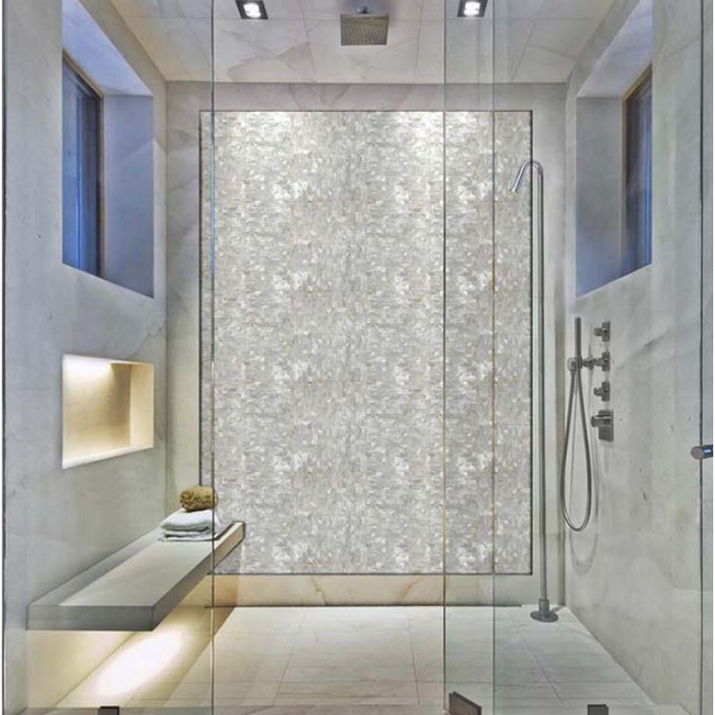 mother of pearl mosaic tile with porcelain base subway shell tiles