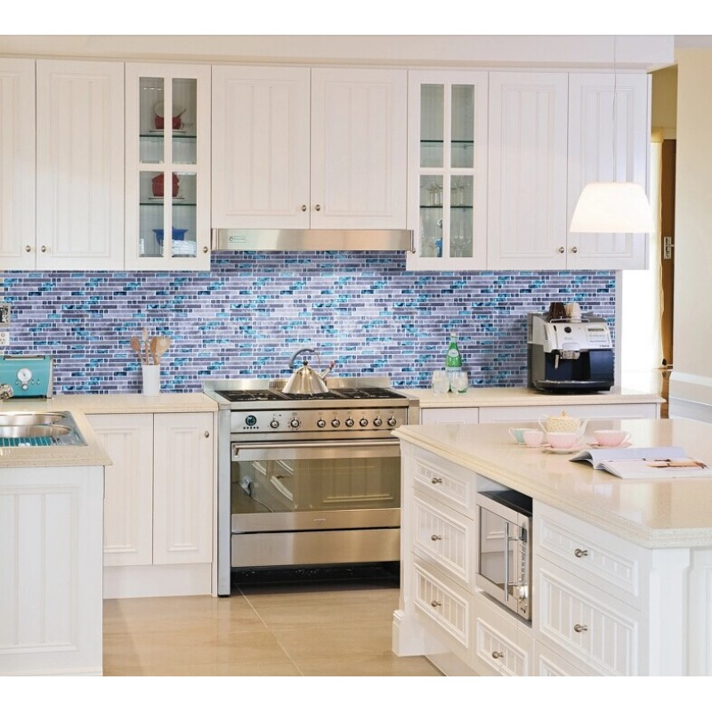 ... Blue Glass Mosaic Clear Crystal Gray Marble Backsplash Random Wave  Pattern Kitchen Wall Tiles