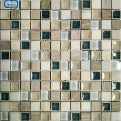 Textured Natural Stone Kitchen Backsplash Cracked Glass Mosaic Tile Bathroom Wall Tiles GL2301C