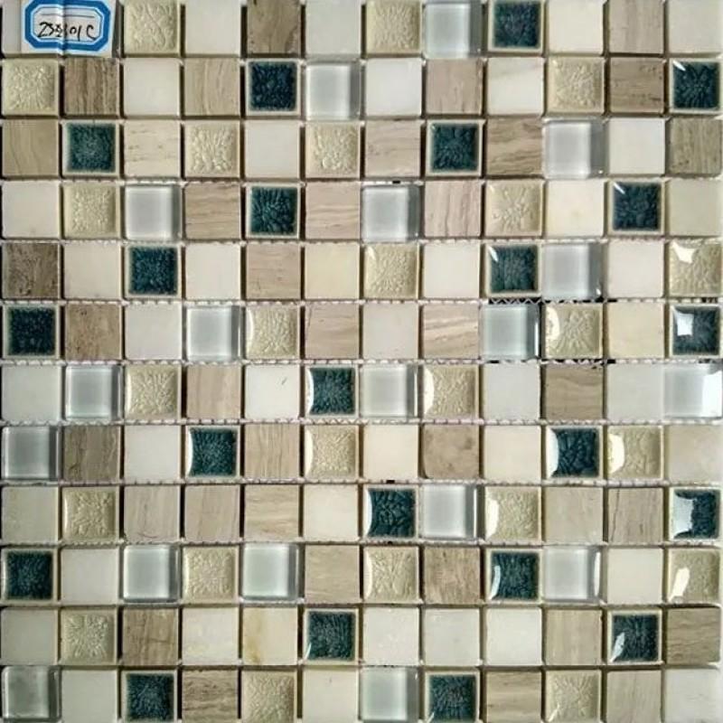 Textured Natural Stone Kitchen Backsplash Cracked Glass
