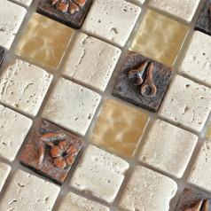 Natural Stone with Crystal Mosaic Tile Sheet Backsplash of  Wall Stickers Washroom Bedroom Kitchen