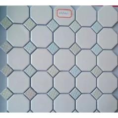 Octagon & Dot Ceramic White Tile Matte Porcelain Floor Tiles Small Glass Backsplash
