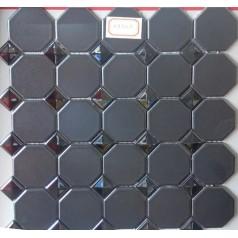 Octagon & Dot Ceramic Gray Tile Matte Porcelain Floor Tiles Small Glass Backsplash