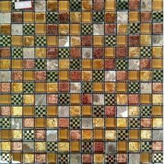 "Gold Glass Mosaic Tile On Shower Wall Design 4/5"" Stone Mosaic Tile Backsplash"