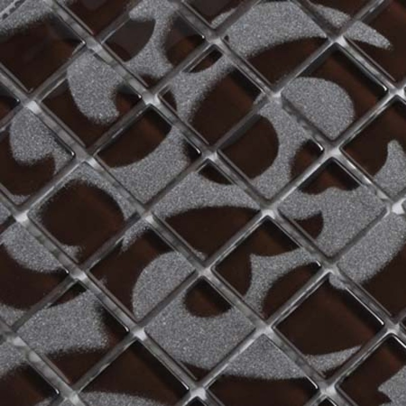 Crystal Glass Tile Black Mosaic Collages Design Interior