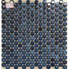 "Penny Round Tile Blue Porcelain Floor Tiles 3/5"" Ceramic Mosaic Backsplash"