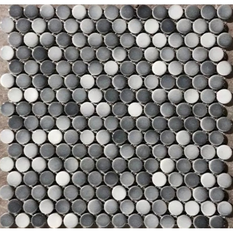 Penny Round Tile Backsplash: Penny Round Porcelain Grey White Tile