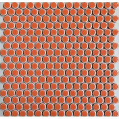 "Penny Round Tile Orange Porcelain Floor Tiles 3/5"" Glossy Ceramic Mosaic Backsplash"