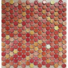 "Penny Round Tile Red Porcelain Floor Tiles 3/5"" Glossy Ceramic Mosaic Backsplash"