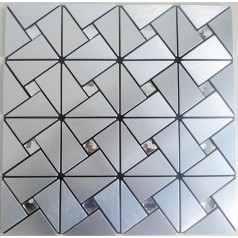 Peel and Stick Tile Pinwheel Patterns Silver Aluminum Metal Wall Tile Glass Diamond Tiles Adhsive Mosaic MH-ASJ-005